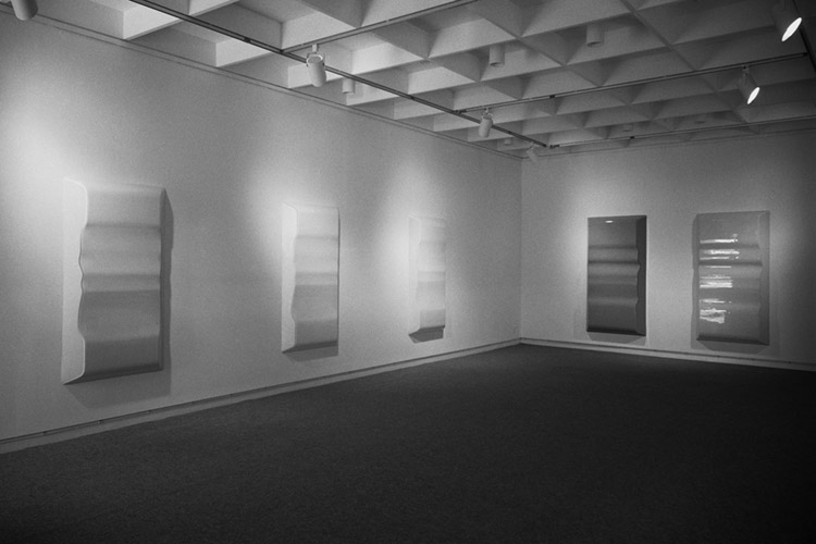 Installation view of Craig Kauffman exhibition at Ferus/Pace Gallery, 1967. Photo by Frank J. Thomas